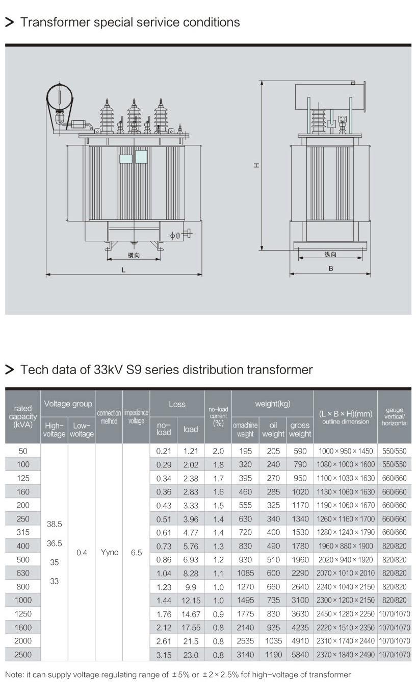 S9 series power transformer 33kv